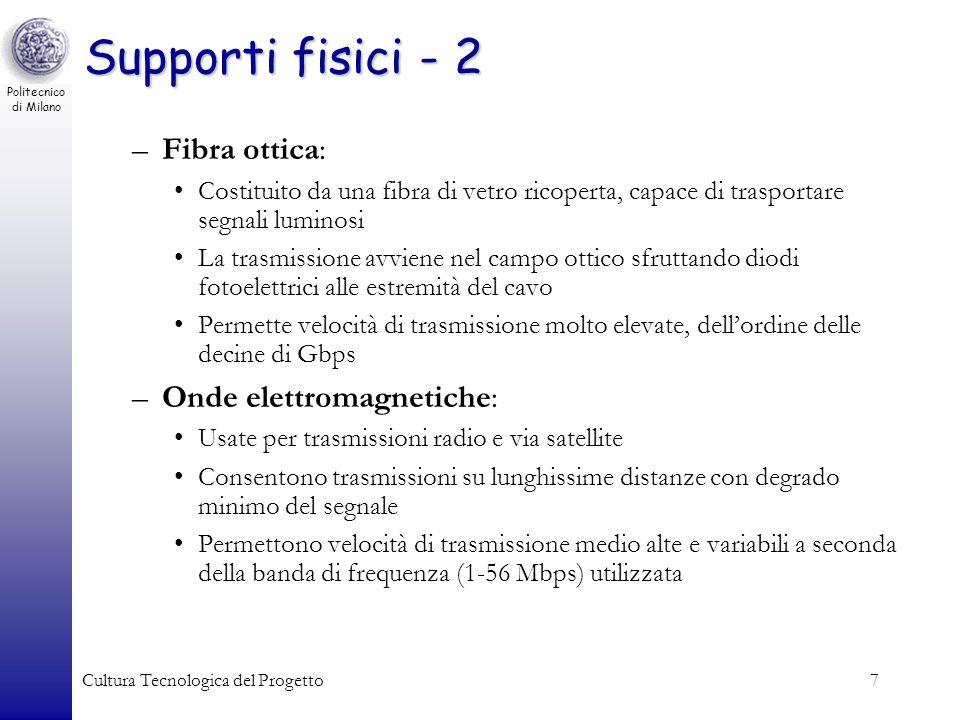 Politecnico di Milano Cultura Tecnologica del Progetto7 Supporti fisici - 2 –Fibra ottica: Costituito da una fibra di vetro ricoperta, capace di trasp