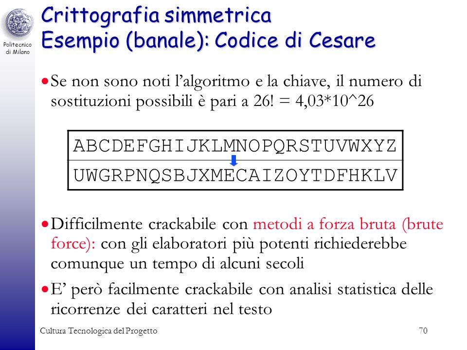 Politecnico di Milano Cultura Tecnologica del Progetto70 Crittografia simmetrica Esempio (banale): Codice di Cesare Se non sono noti lalgoritmo e la c