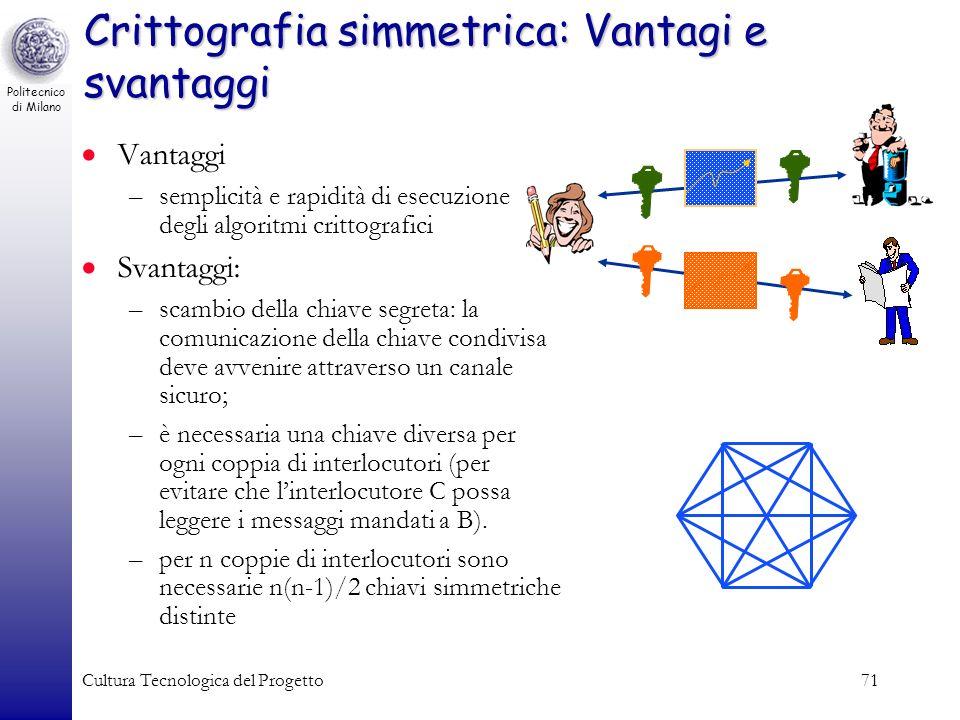 Politecnico di Milano Cultura Tecnologica del Progetto71 Crittografia simmetrica: Vantagi e svantaggi Vantaggi –semplicità e rapidità di esecuzione de