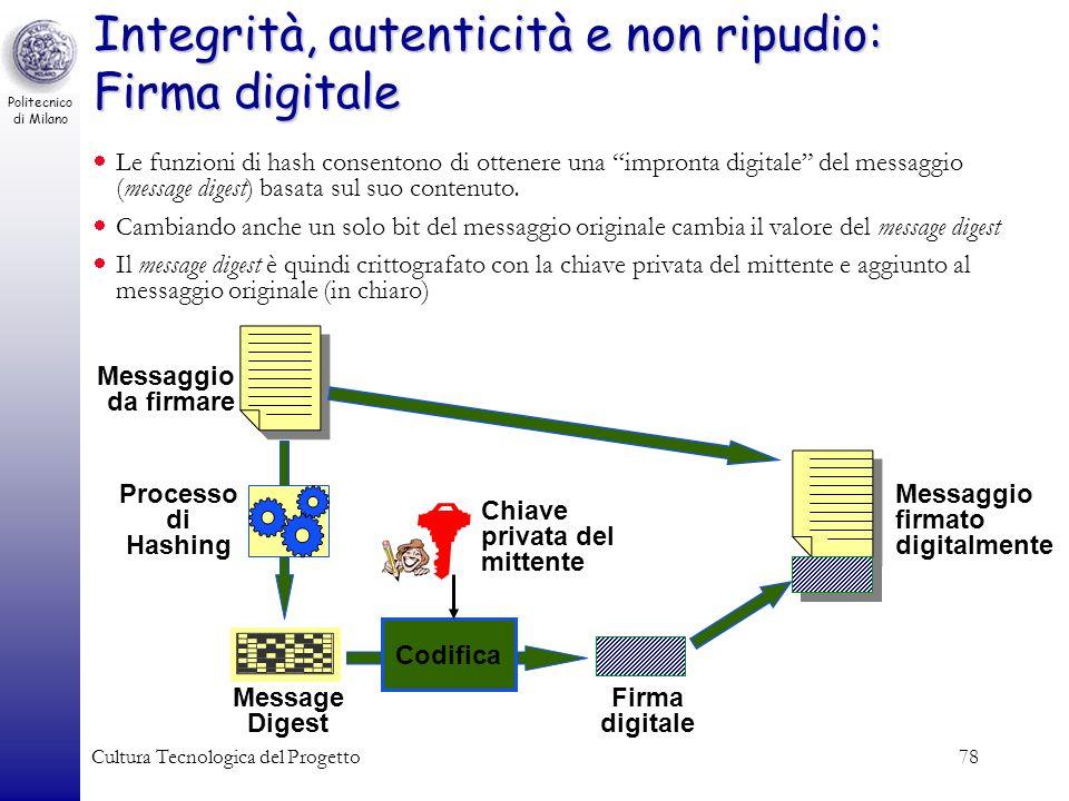 Politecnico di Milano Cultura Tecnologica del Progetto78 Integrità, autenticità e non ripudio: Firma digitale Le funzioni di hash consentono di ottene