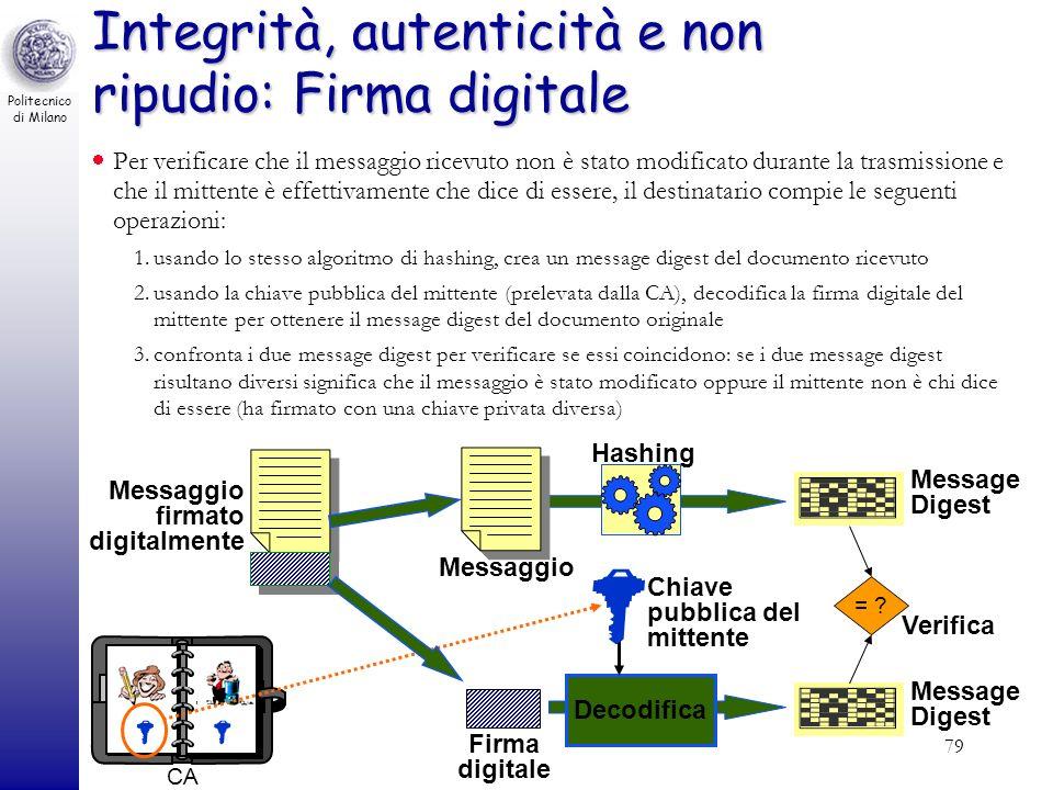 Politecnico di Milano Cultura Tecnologica del Progetto79 Integrità, autenticità e non ripudio: Firma digitale Per verificare che il messaggio ricevuto