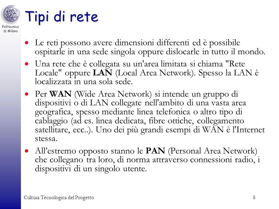 Politecnico di Milano Cultura Tecnologica del Progetto8 Tipi di rete Le reti possono avere dimensioni differenti ed è possibile ospitarle in una sede