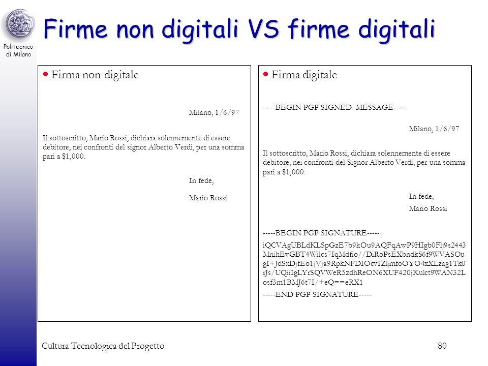 Politecnico di Milano Cultura Tecnologica del Progetto80 Firma non digitale Milano, 1/6/97 Il sottoscritto, Mario Rossi, dichiara solennemente di esse