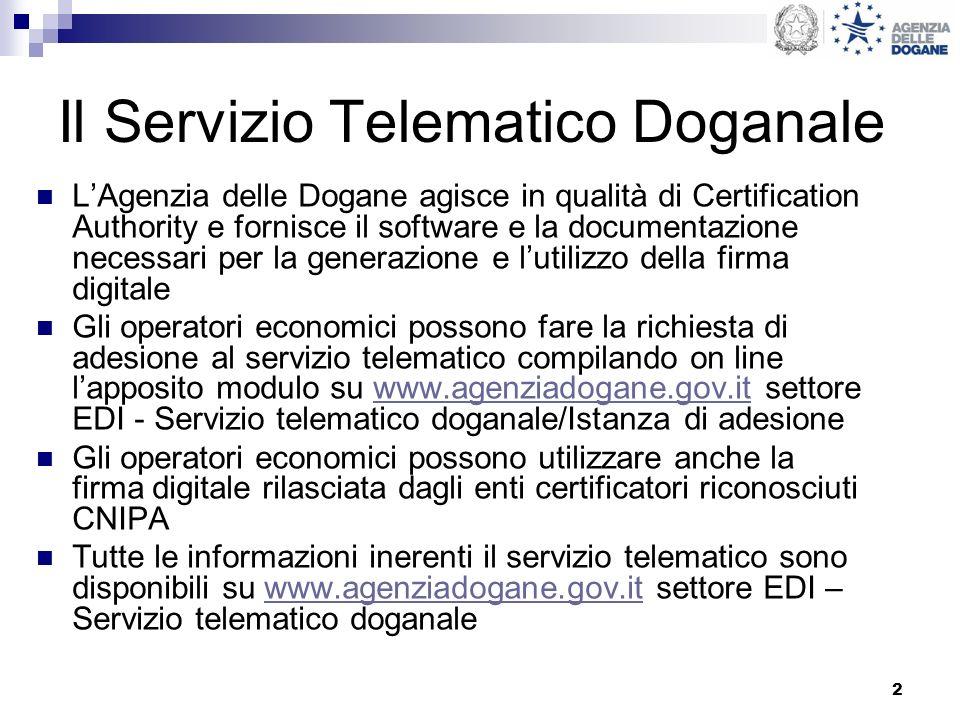 2 Il Servizio Telematico Doganale LAgenzia delle Dogane agisce in qualità di Certification Authority e fornisce il software e la documentazione necess
