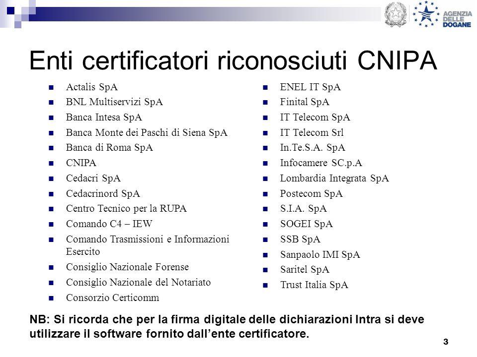 3 Enti certificatori riconosciuti CNIPA Actalis SpA BNL Multiservizi SpA Banca Intesa SpA Banca Monte dei Paschi di Siena SpA Banca di Roma SpA CNIPA