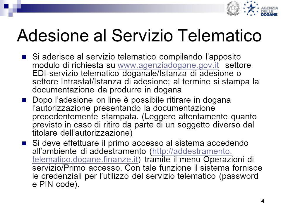 4 Adesione al Servizio Telematico Si aderisce al servizio telematico compilando lapposito modulo di richiesta su www.agenziadogane.gov.it settore EDI-
