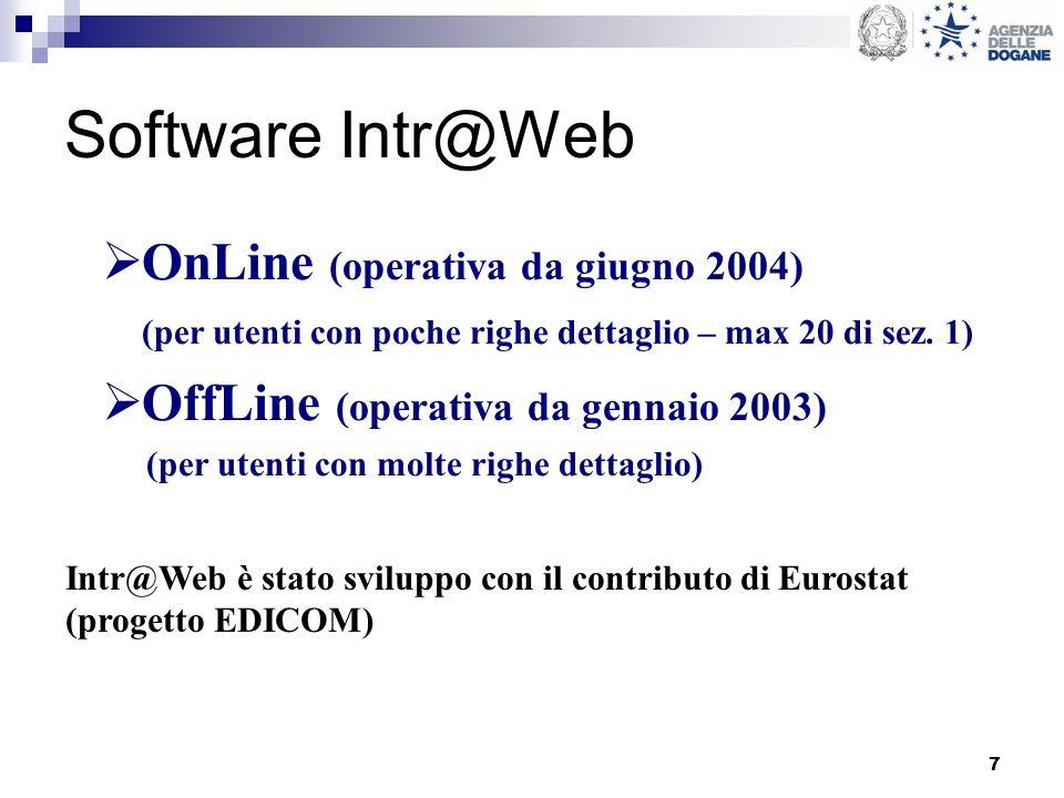7 Software Intr@Web OnLine (operativa da giugno 2004) (per utenti con poche righe dettaglio – max 20 di sez. 1) OffLine (operativa da gennaio 2003) (p