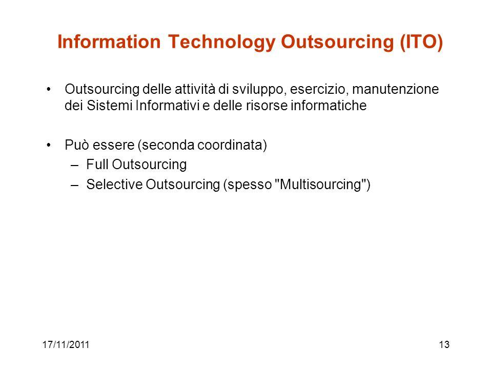 17/11/201113 Information Technology Outsourcing (ITO) Outsourcing delle attività di sviluppo, esercizio, manutenzione dei Sistemi Informativi e delle