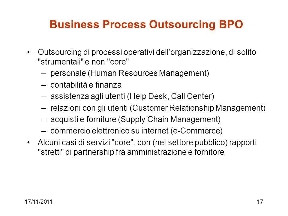 17/11/201117 Business Process Outsourcing BPO Outsourcing di processi operativi dellorganizzazione, di solito