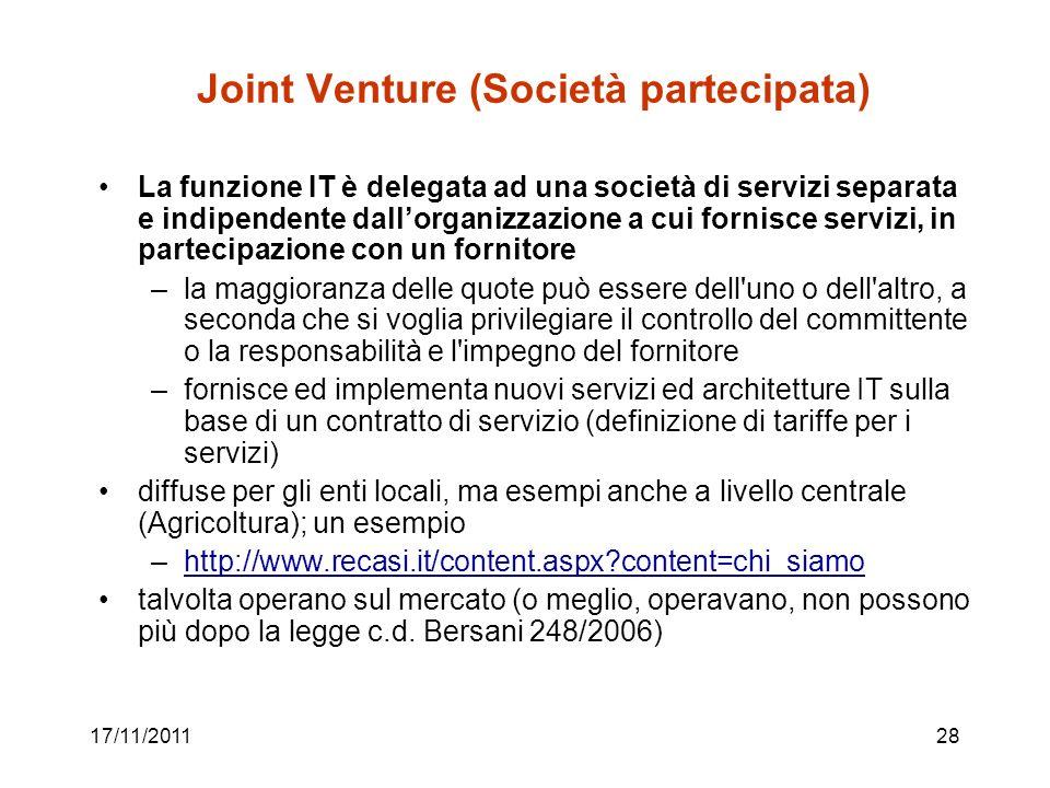 17/11/201128 Joint Venture (Società partecipata) La funzione IT è delegata ad una società di servizi separata e indipendente dallorganizzazione a cui