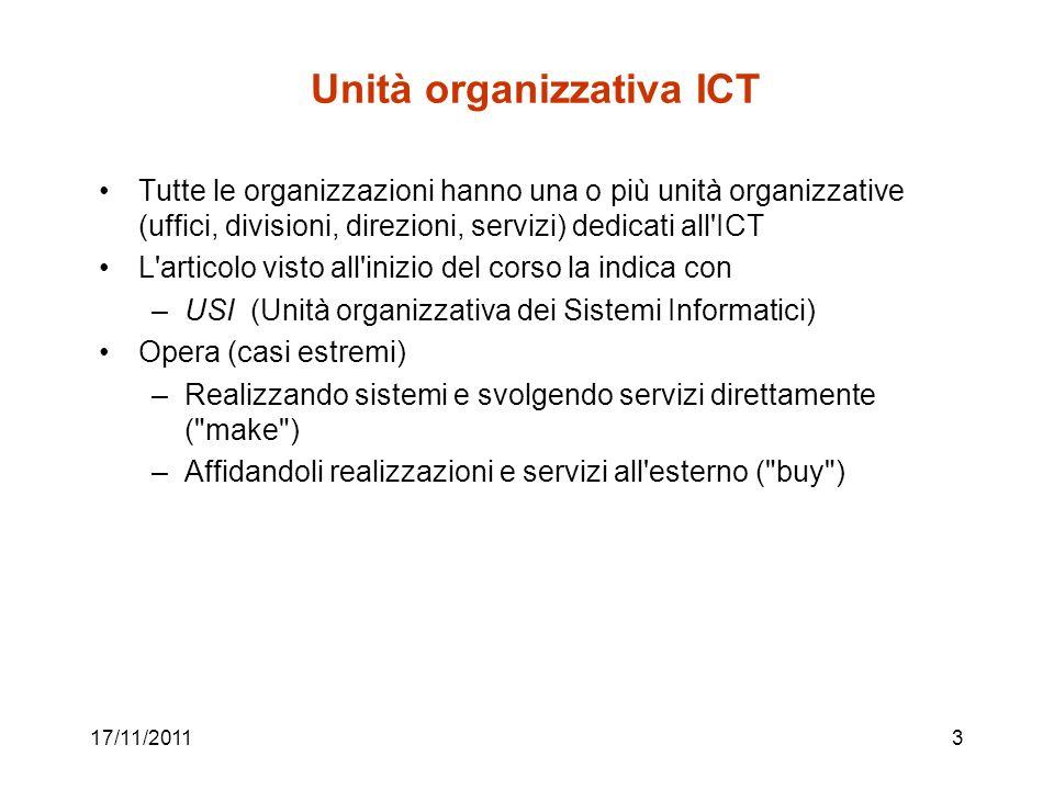 17/11/20113 Unità organizzativa ICT Tutte le organizzazioni hanno una o più unità organizzative (uffici, divisioni, direzioni, servizi) dedicati all'I