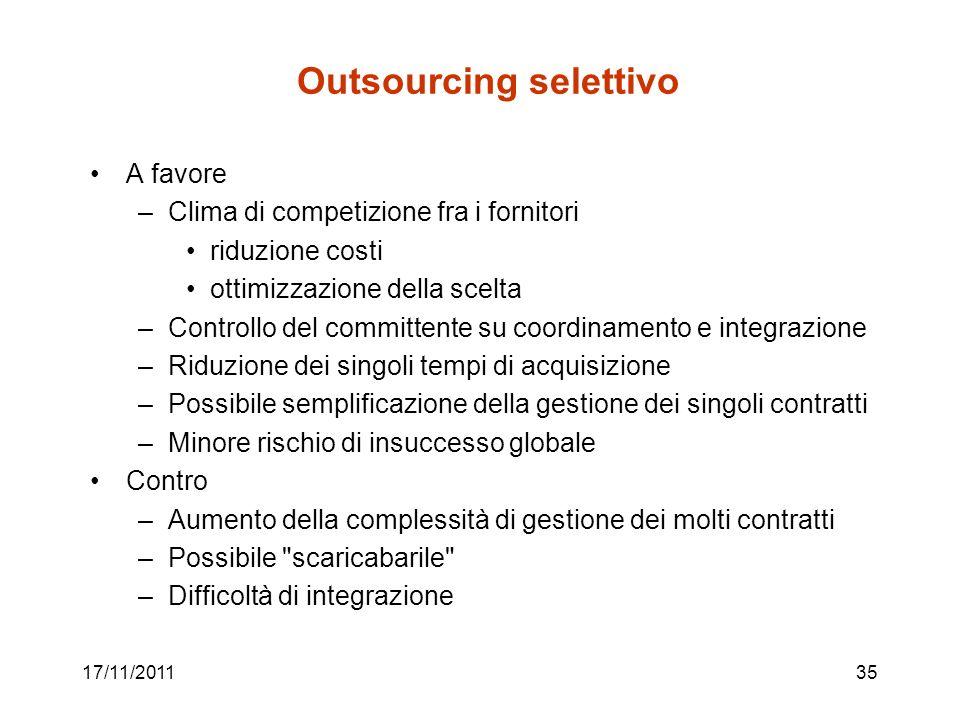 17/11/201135 Outsourcing selettivo A favore –Clima di competizione fra i fornitori riduzione costi ottimizzazione della scelta –Controllo del committe