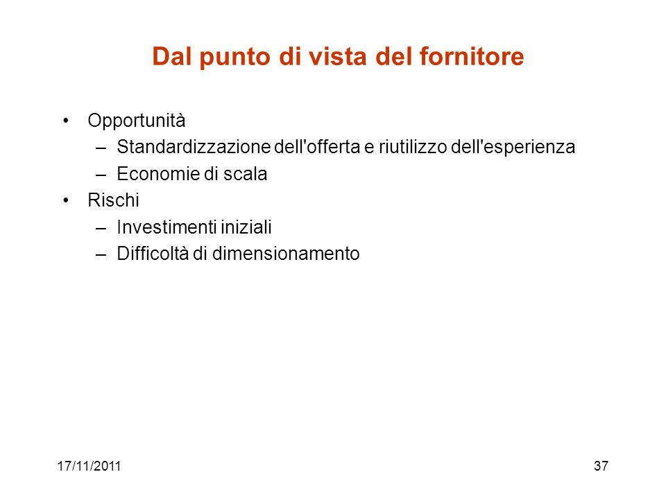 17/11/201137 Dal punto di vista del fornitore Opportunità –Standardizzazione dell'offerta e riutilizzo dell'esperienza –Economie di scala Rischi –Inve