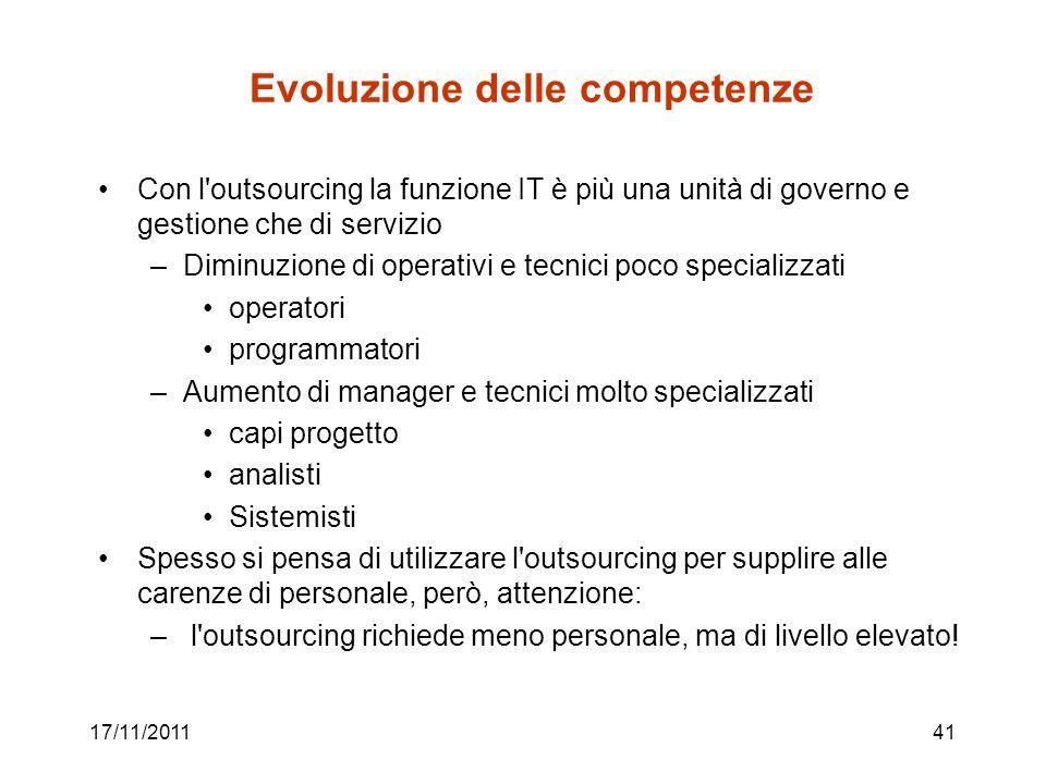 17/11/201141 Evoluzione delle competenze Con l'outsourcing la funzione IT è più una unità di governo e gestione che di servizio –Diminuzione di operat