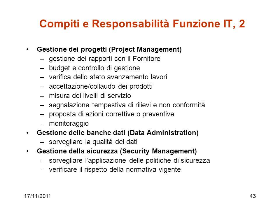 17/11/201143 Compiti e Responsabilità Funzione IT, 2 Gestione dei progetti (Project Management) –gestione dei rapporti con il Fornitore –budget e cont