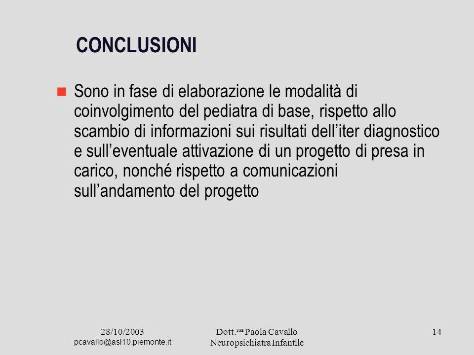 28/10/2003 pcavallo@asl10.piemonte.it Dott. ssa Paola Cavallo Neuropsichiatra Infantile 14 CONCLUSIONI Sono in fase di elaborazione le modalità di coi