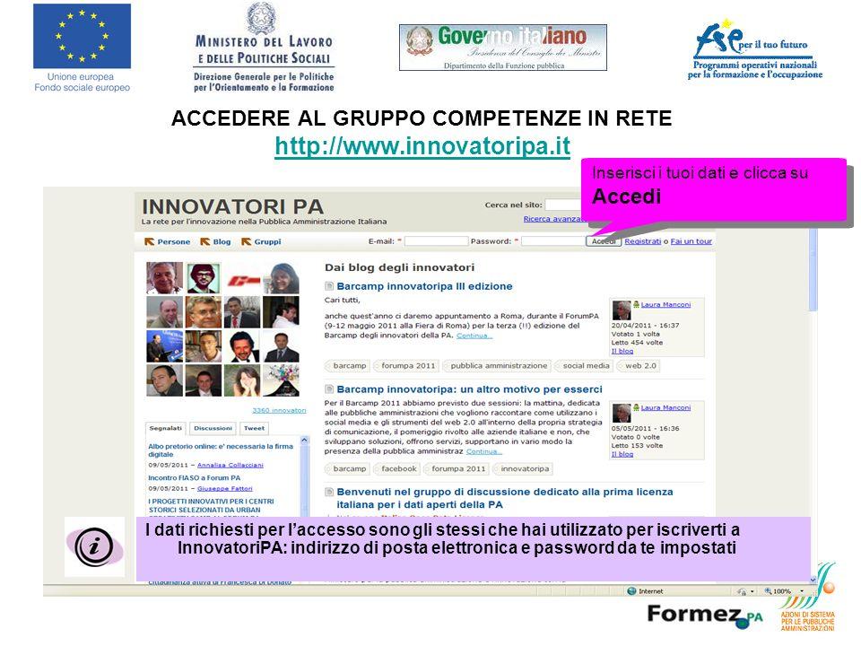 ACCEDERE AL GRUPPO COMPETENZE IN RETE http://www.innovatoripa.it http://www.innovatoripa.it Inserisci i tuoi dati e clicca su Accedi I dati richiesti