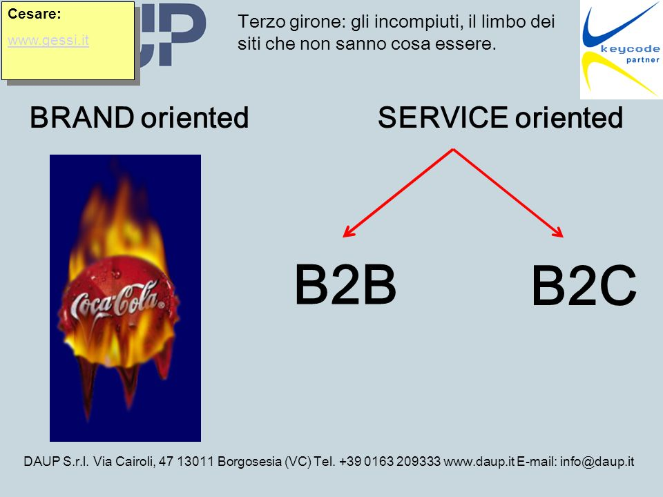 DAUP S.r.l. Via Cairoli, 47 13011 Borgosesia (VC) Tel. +39 0163 209333 www.daup.it E-mail: info@daup.it Terzo girone: gli incompiuti, il limbo dei sit
