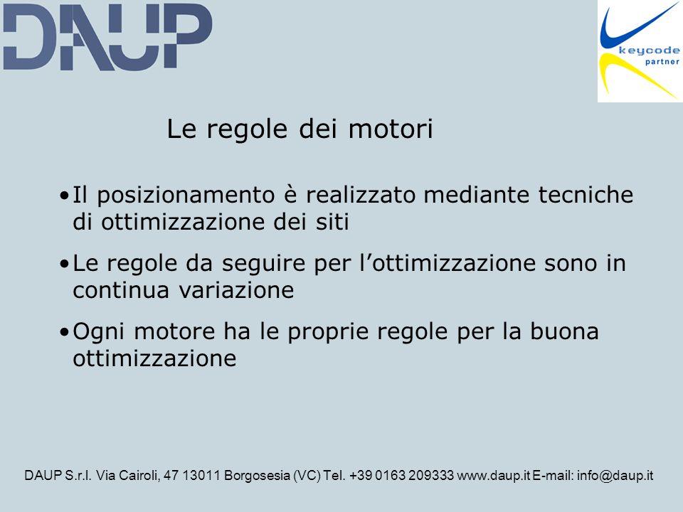 DAUP S.r.l. Via Cairoli, 47 13011 Borgosesia (VC) Tel. +39 0163 209333 www.daup.it E-mail: info@daup.it Il posizionamento è realizzato mediante tecnic