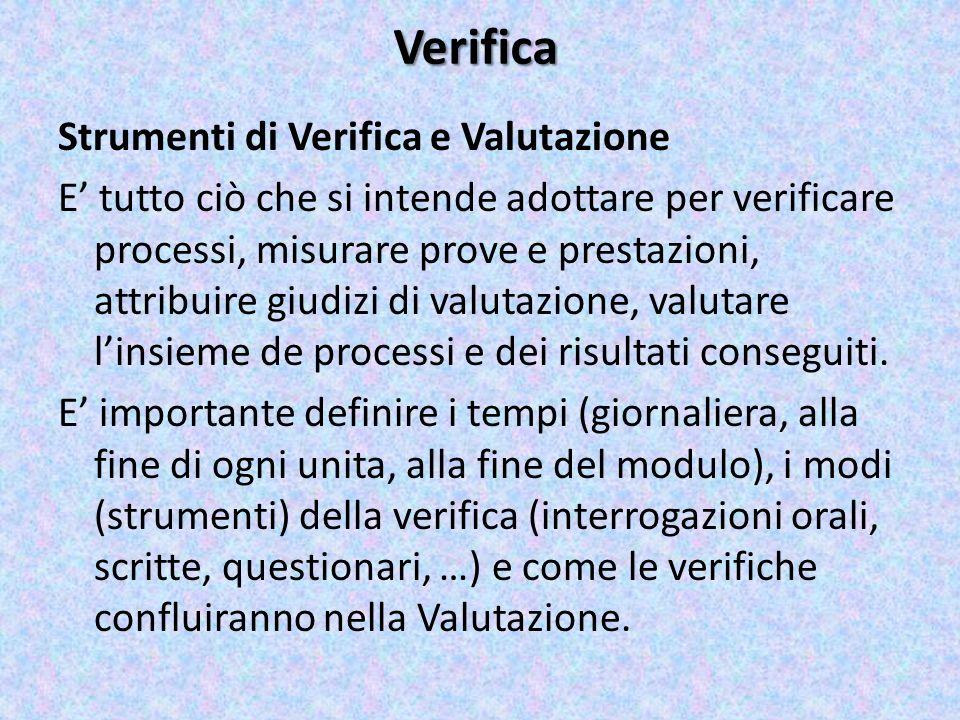 Verifica Strumenti di Verifica e Valutazione E tutto ciò che si intende adottare per verificare processi, misurare prove e prestazioni, attribuire giu