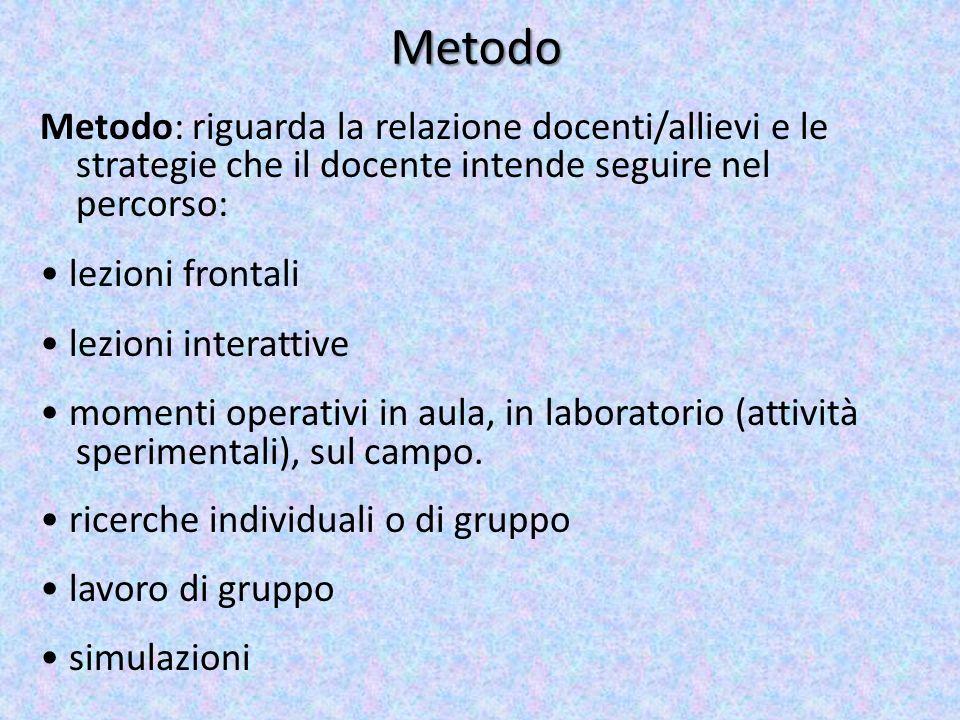 Metodo Metodo: riguarda la relazione docenti/allievi e le strategie che il docente intende seguire nel percorso: lezioni frontali lezioni interattive