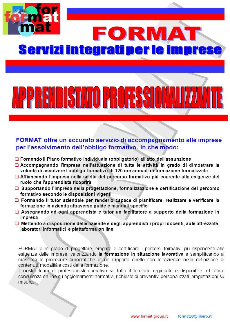 www.format-group.it format09@libero.it FORMAT offre un accurato servizio di accompagnamento alle imprese per lassolvimento dellobbligo formativo. In c