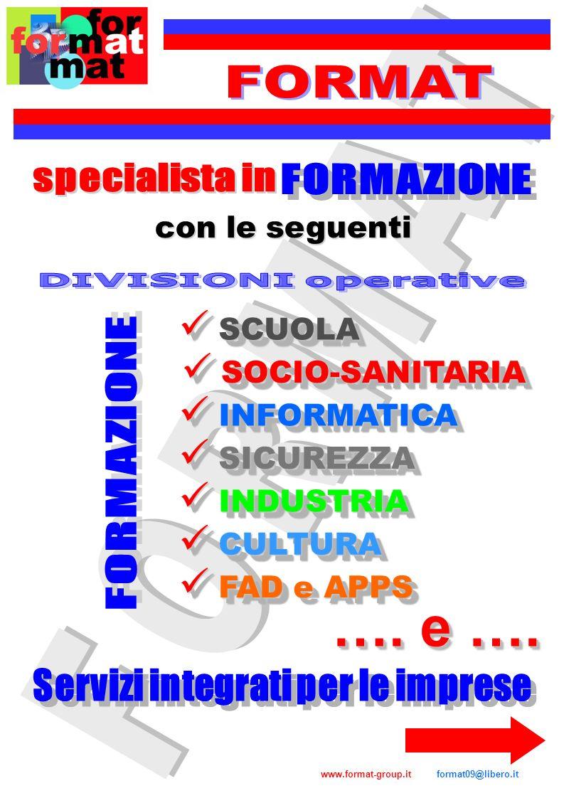 SCUOLA SCUOLA SOCIO-SANITARIA SOCIO-SANITARIA INFORMATICA INFORMATICA INDUSTRIA INDUSTRIA SICUREZZA SICUREZZA CULTURA CULTURA FAD e APPS FAD e APPS co