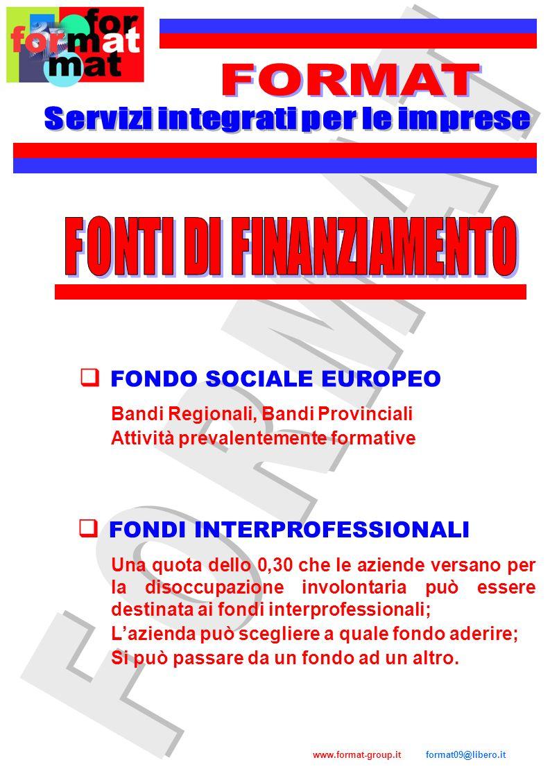 www.format-group.it format09@libero.it FONDIMPRESA Confindustria, Cgil, Cisl, Uil FOR.TE Confcommercio, ABI, ANIA, Confetra, Cgil, Cisl, Uil Confesercenti, Cgil, Cisl, Uil FON.TER FONDO FORMAZIONE PMI Confapi, Cgil, Cisl, Uil FONDO ARTIGIANATO FORMAZIONE Confartigianato, CNA, Casartigiani, Cgil, Cisl, Uil FONCOOP Confcooperative, Legacoop, AGCI, Cgil, Cisl, Uil FOND.E.R Confindustria, Federmanager