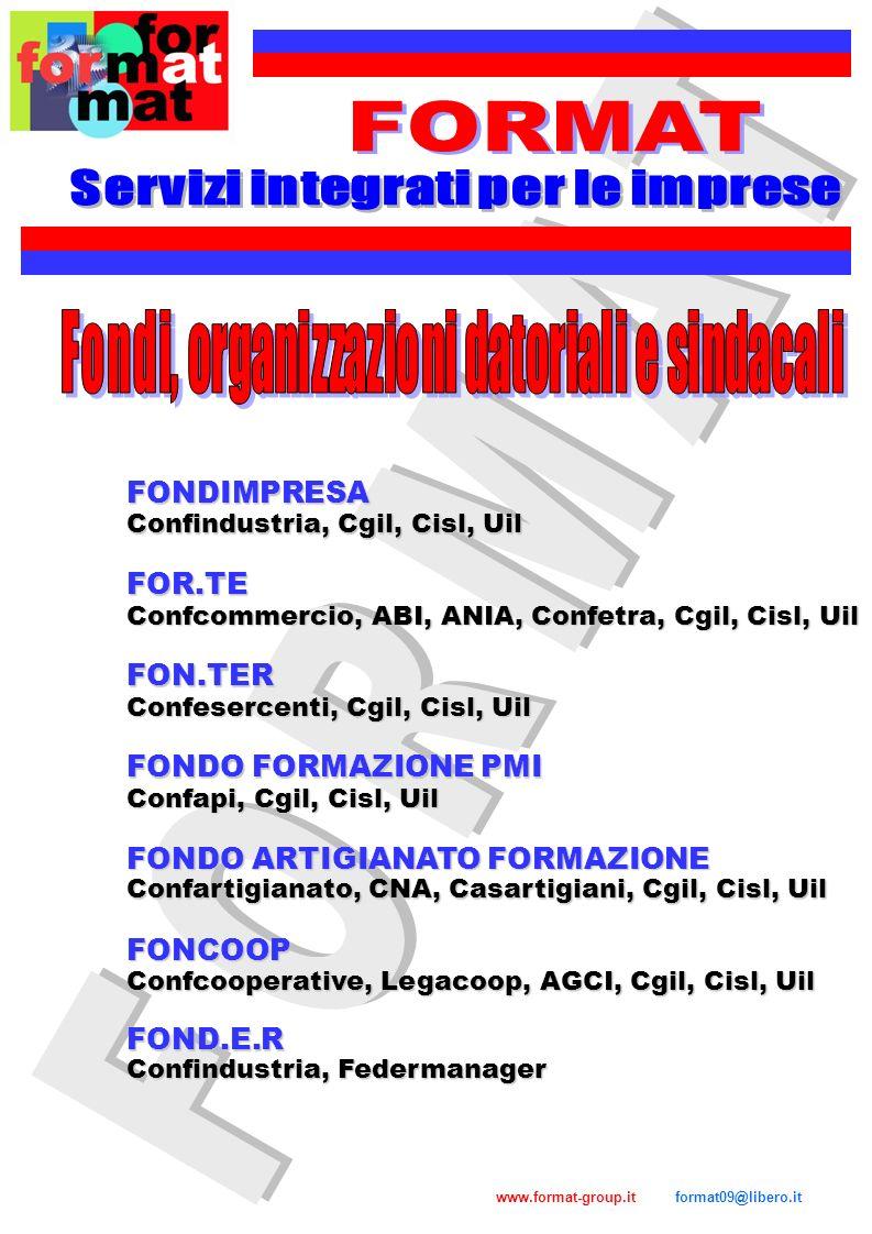 www.format-group.it format09@libero.it FONDIR Confcommercio, ABI, ANIA, Confetra, Fendac, Sinfub FONDO DIRIGENTI PMI Confapi, Federmanager Consilp, Confprofessioni, Confedetecnica, Cgil, Cisl, Uil FONDOPROFESSIONI Si stimava, prima della crisi, che su un totale di 10.000 di potenziali addetti, solo il 50% circa versa i fondi.