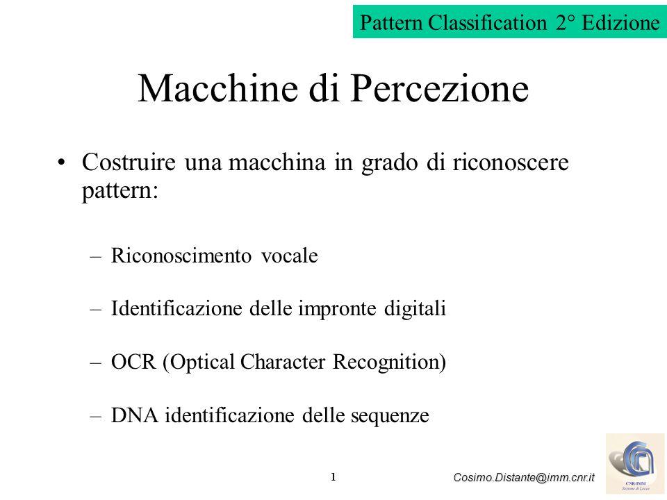 1 Cosimo.Distante@imm.cnr.it Macchine di Percezione Costruire una macchina in grado di riconoscere pattern: –Riconoscimento vocale –Identificazione de