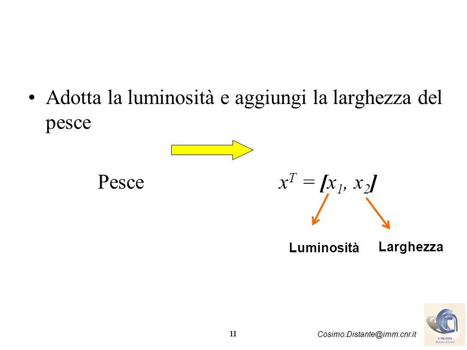 11 Cosimo.Distante@imm.cnr.it Adotta la luminosità e aggiungi la larghezza del pesce Pesce x T = [x 1, x 2 ] Larghezza Luminosità
