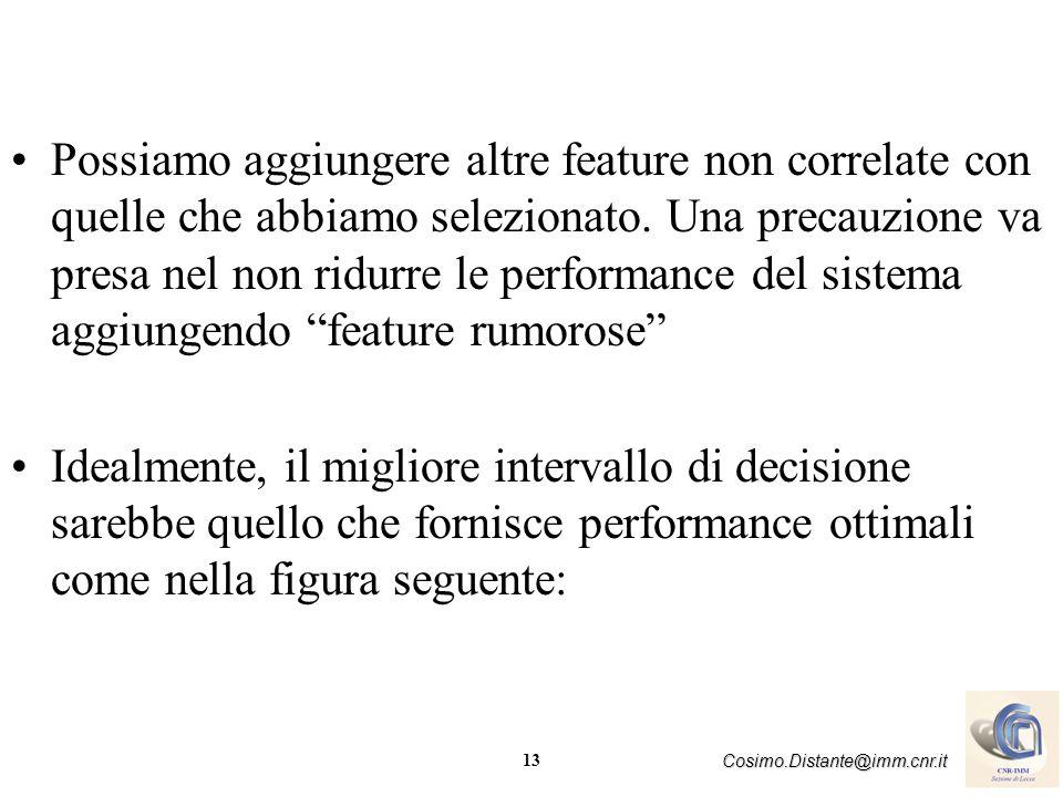 13 Cosimo.Distante@imm.cnr.it Possiamo aggiungere altre feature non correlate con quelle che abbiamo selezionato. Una precauzione va presa nel non rid
