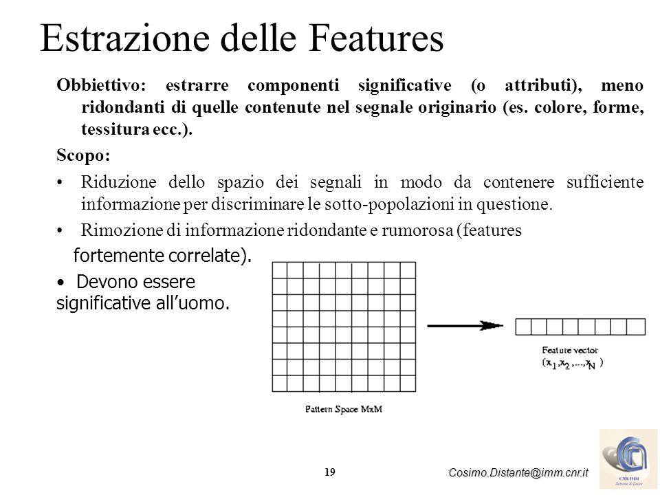 19 Cosimo.Distante@imm.cnr.it Estrazione delle Features Obbiettivo: estrarre componenti significative (o attributi), meno ridondanti di quelle contenu