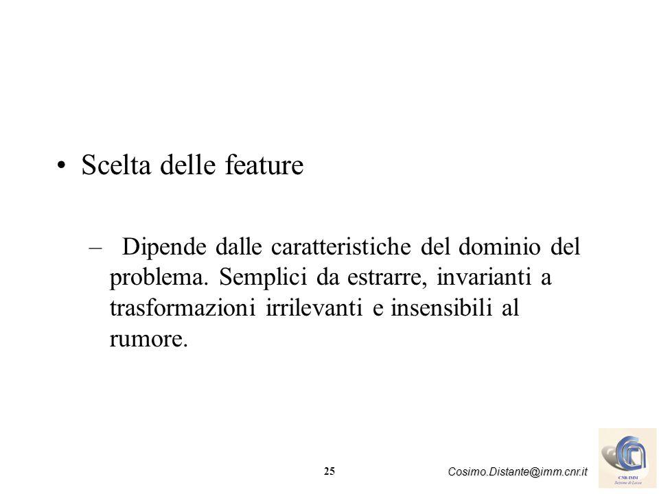 25 Cosimo.Distante@imm.cnr.it Scelta delle feature –Dipende dalle caratteristiche del dominio del problema. Semplici da estrarre, invarianti a trasfor