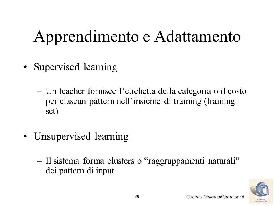 30 Cosimo.Distante@imm.cnr.it Apprendimento e Adattamento Supervised learning –Un teacher fornisce letichetta della categoria o il costo per ciascun p