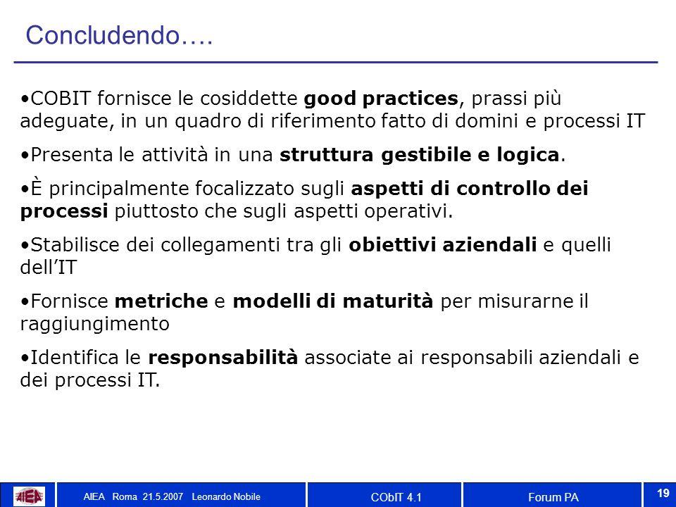 Forum PACObIT 4.1 AIEA Roma 21.5.2007 Leonardo Nobile 19 Concludendo…. COBIT fornisce le cosiddette good practices, prassi più adeguate, in un quadro