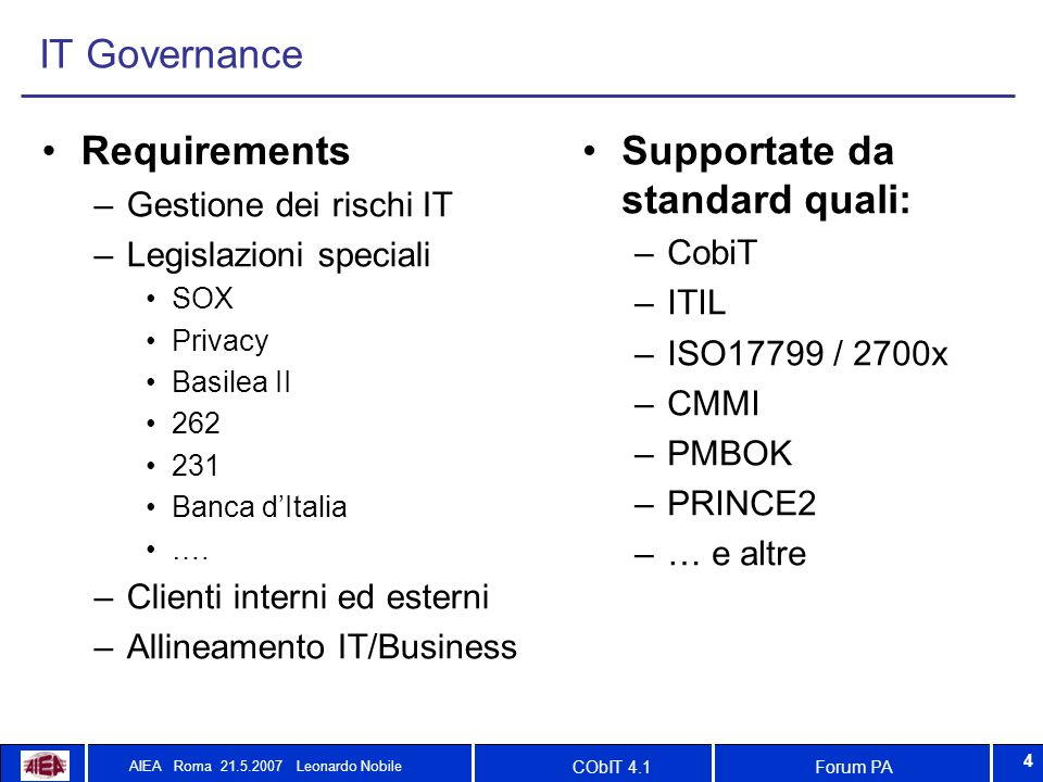 Forum PACObIT 4.1 AIEA Roma 21.5.2007 Leonardo Nobile 4 IT Governance Requirements –Gestione dei rischi IT –Legislazioni speciali SOX Privacy Basilea