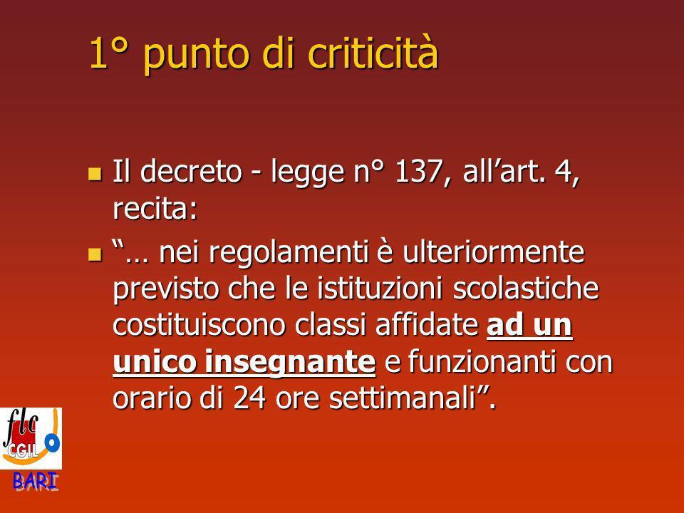1° punto di criticità Il decreto - legge n° 137, allart. 4, recita: Il decreto - legge n° 137, allart. 4, recita: … nei regolamenti è ulteriormente pr