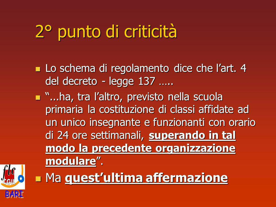 2° punto di criticità Lo schema di regolamento dice che lart. 4 del decreto - legge 137 ….. Lo schema di regolamento dice che lart. 4 del decreto - le