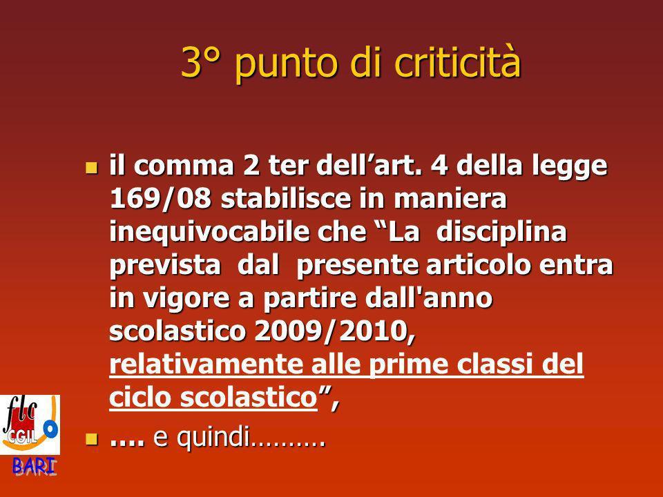 3° punto di criticità il comma 2 ter dellart. 4 della legge 169/08 stabilisce in maniera inequivocabile che La disciplina prevista dal presente artico
