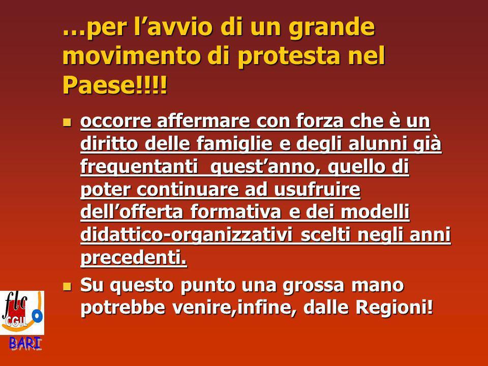 …per lavvio di un grande movimento di protesta nel Paese!!!! occorre affermare con forza che è un diritto delle famiglie e degli alunni già frequentan