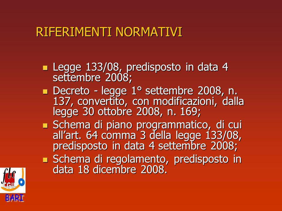 RIFERIMENTI NORMATIVI Legge 133/08, predisposto in data 4 settembre 2008; Legge 133/08, predisposto in data 4 settembre 2008; Decreto - legge 1° sette