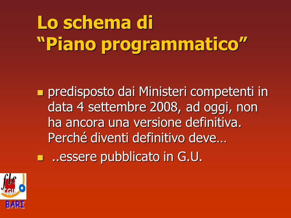 Lo schema di Piano programmatico predisposto dai Ministeri competenti in data 4 settembre 2008, ad oggi, non ha ancora una versione definitiva. Perché