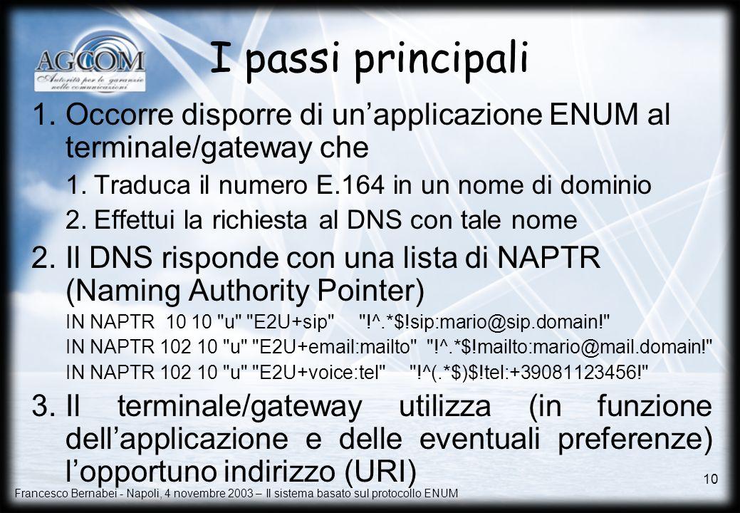 Francesco Bernabei - Napoli, 4 novembre 2003 – Il sistema basato sul protocollo ENUM 10 I passi principali 1.Occorre disporre di unapplicazione ENUM a
