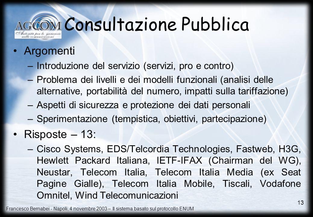 Francesco Bernabei - Napoli, 4 novembre 2003 – Il sistema basato sul protocollo ENUM 13 Consultazione Pubblica Argomenti –Introduzione del servizio (s