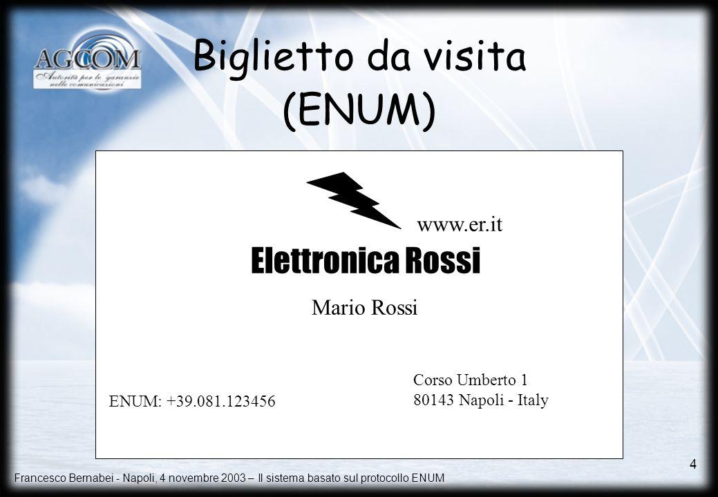 Francesco Bernabei - Napoli, 4 novembre 2003 – Il sistema basato sul protocollo ENUM 4 Corso Umberto 1 80143 Napoli – Italy Tel (NA): +39.081.123456 F