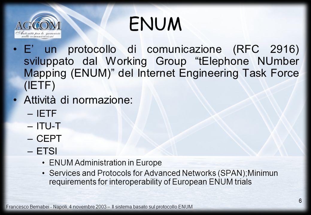 Francesco Bernabei - Napoli, 4 novembre 2003 – Il sistema basato sul protocollo ENUM 6 ENUM E un protocollo di comunicazione (RFC 2916) sviluppato dal