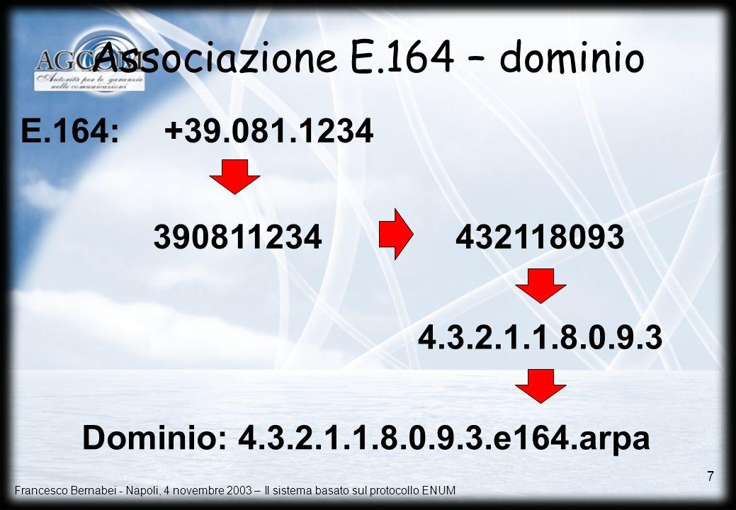 Francesco Bernabei - Napoli, 4 novembre 2003 – Il sistema basato sul protocollo ENUM 7 Associazione E.164 – dominio 390811234 4.3.2.1.1.8.0.9.3 +39.08