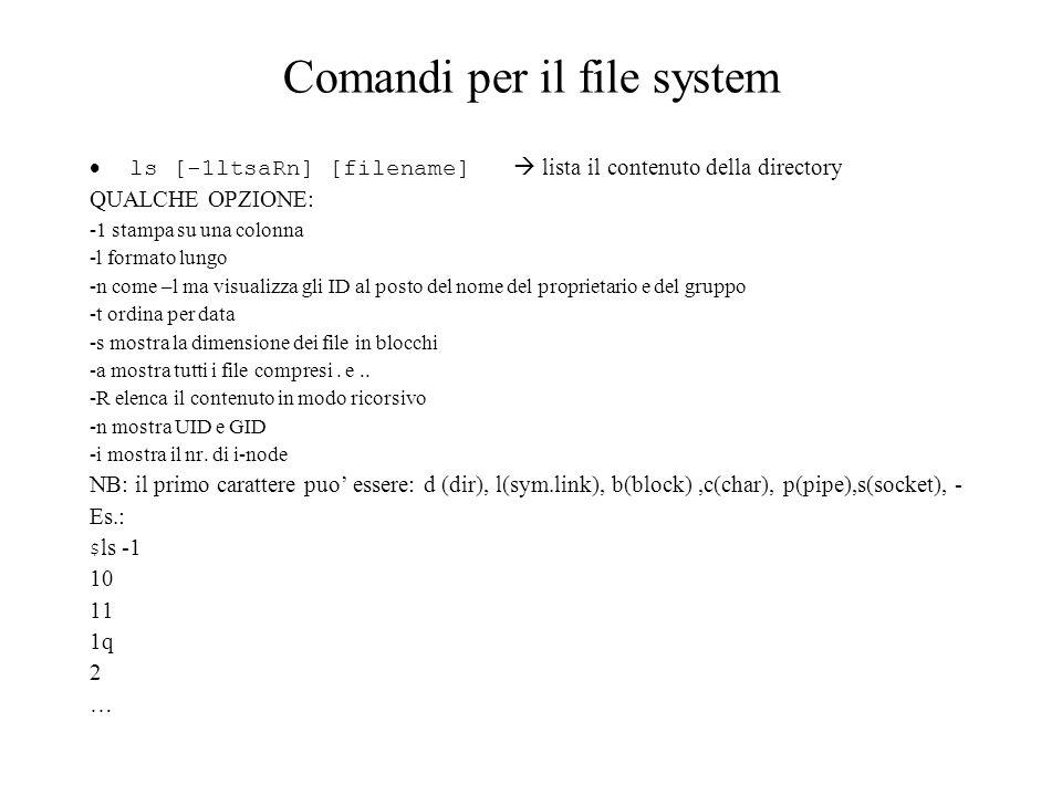 Comandi per il file system ls [-1ltsaRn] [filename] lista il contenuto della directory QUALCHE OPZIONE: -1 stampa su una colonna -l formato lungo -n c