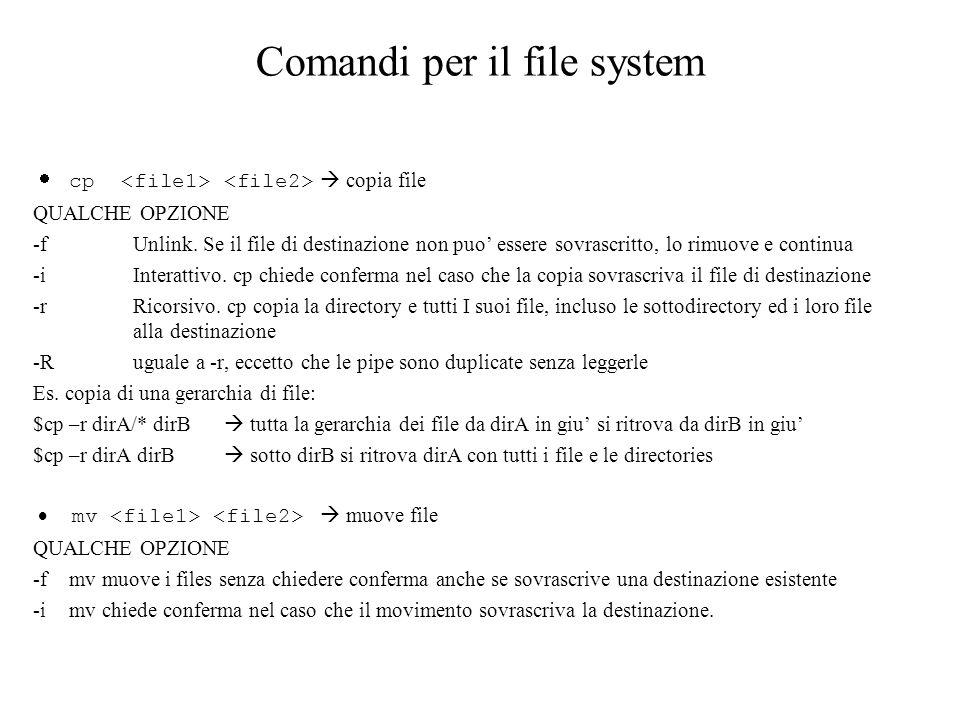 Comandi per il file system cp copia file QUALCHE OPZIONE -f Unlink. Se il file di destinazione non puo essere sovrascritto, lo rimuove e continua -i I